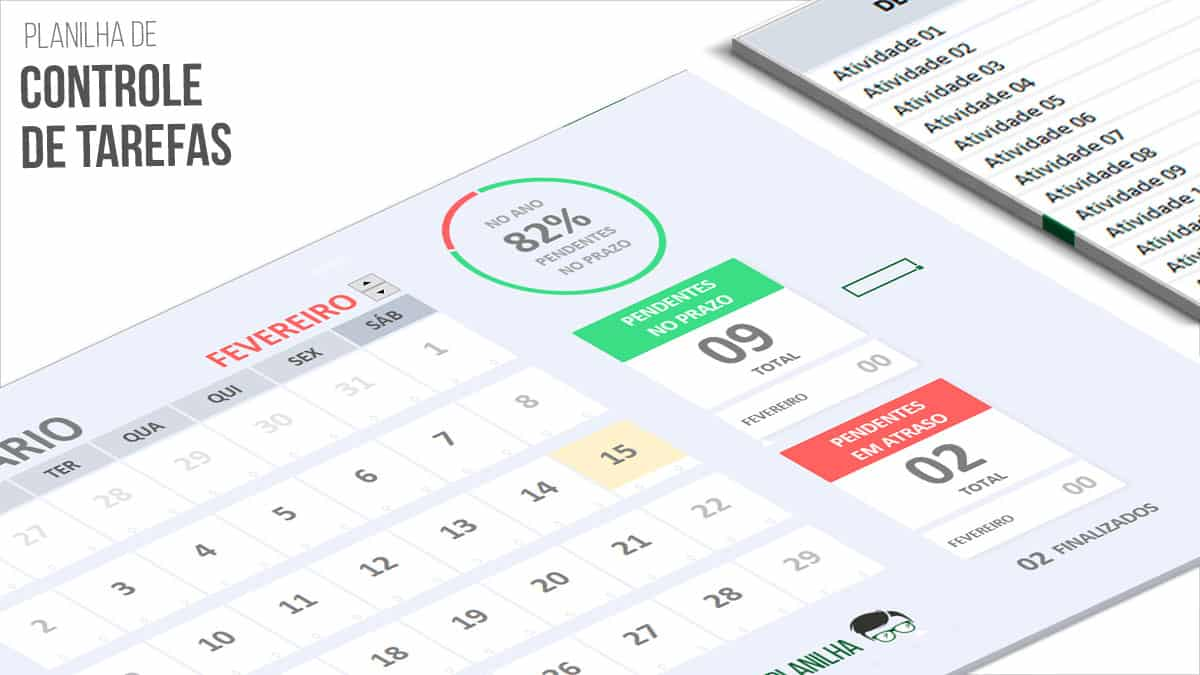 Planilha de Controle de Tarefas com Dashboard POST destaque