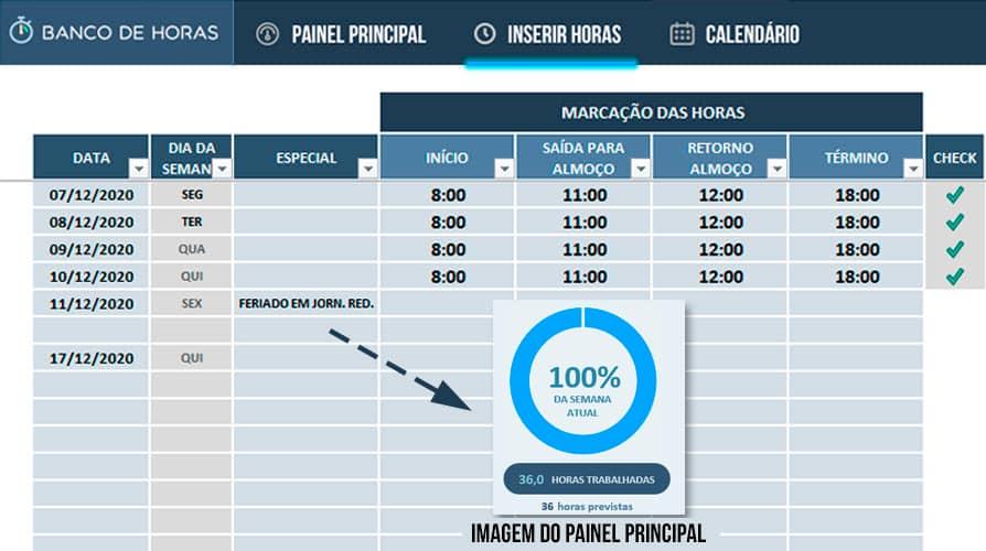 Planilha Banco de Horas – Inserindo feriados e folgas em jornada reduzida